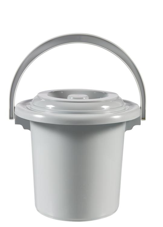 Curver - Toiletemmer met deksel - 5 Liter - Ø 24 cm - Lichtgrijs