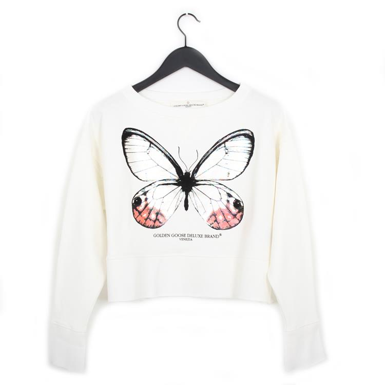 Golden Goose sweatshirt lady white butterfly