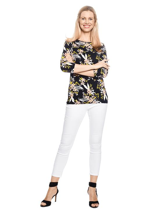 Top Print Viscose Zwart