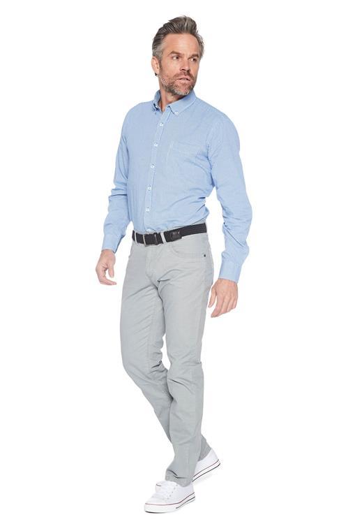 Casual Overhemd.Heren Greenfield Casual Hemd Geruit Lichtblauw Miller Monroe
