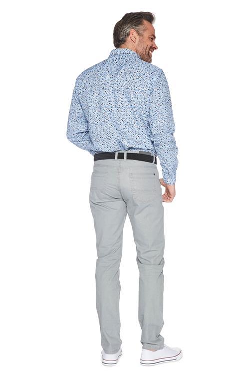 Casual Overhemd.Heren Greenfield Casual Shirt Allover Print Blauw Miller Monroe