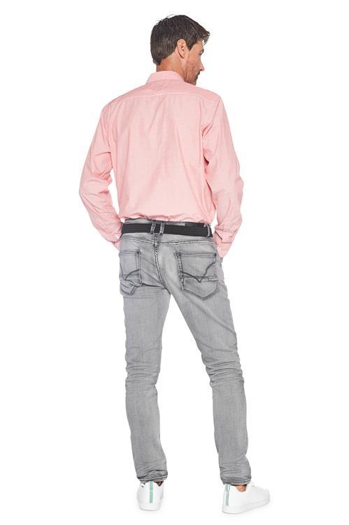 Roze Overhemd.Heren Greenfield Casual Overhemd Stip Print Roze Miller Monroe