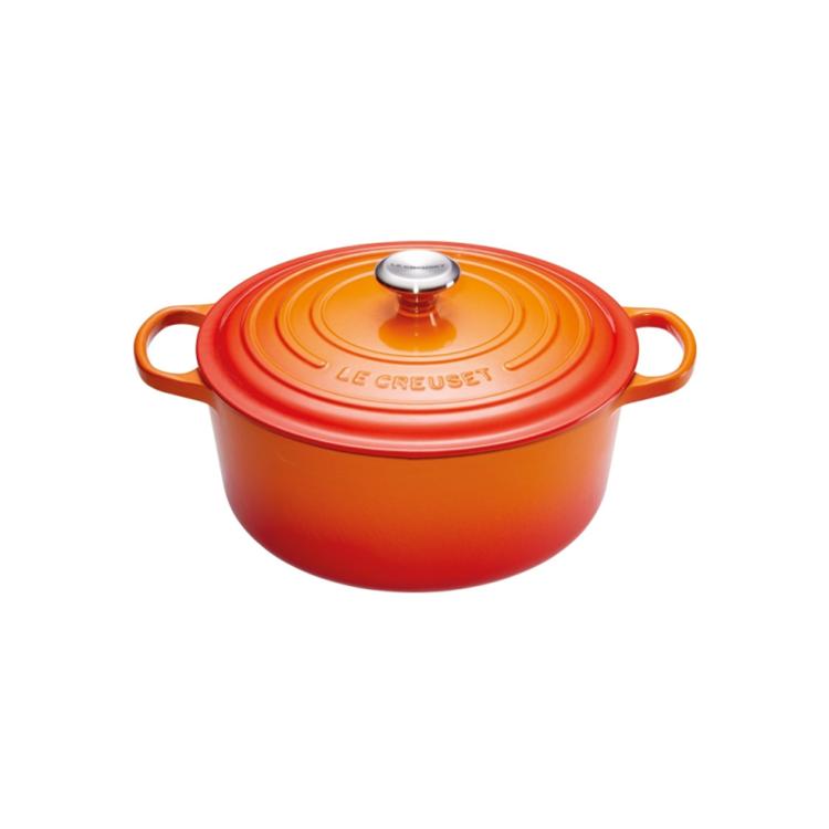 Le Creuset Signature ronde braad-/stoofpan 24 cm - oranje-rood