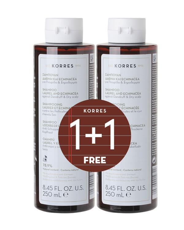 Korres - 1+1 Shampoo Laurel & Echinacea - 2 x 250 ml - anti-roos