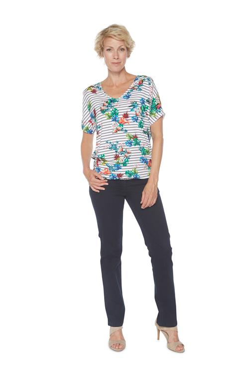 Street One T-shirt Strepen Floral Mix Wit