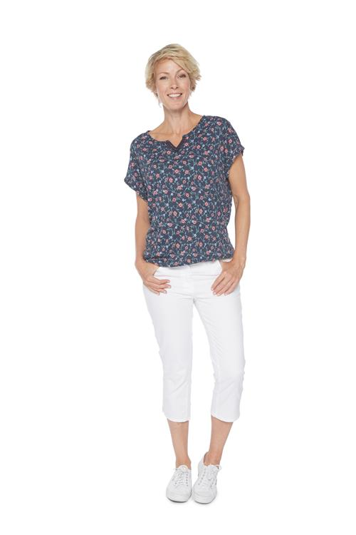 Tom Tailor Women T-shirt Floral Print Donker Blauw