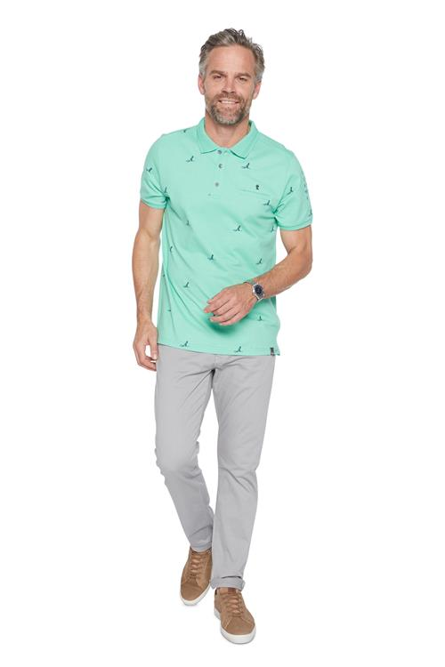 Twinlife Polo Shirt Vogel Print Groen