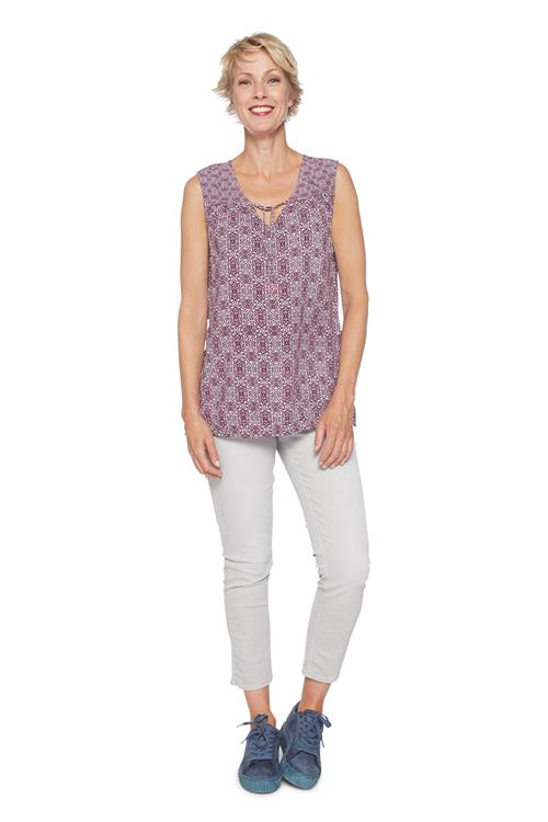 Cecil Top Ornament Print Bordeaux