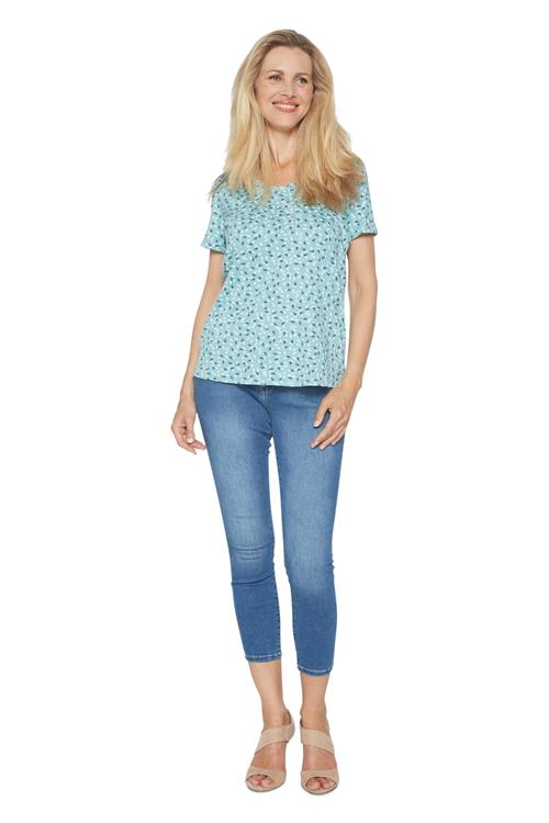 Cecil T-shirt Feather Print Mint Groen