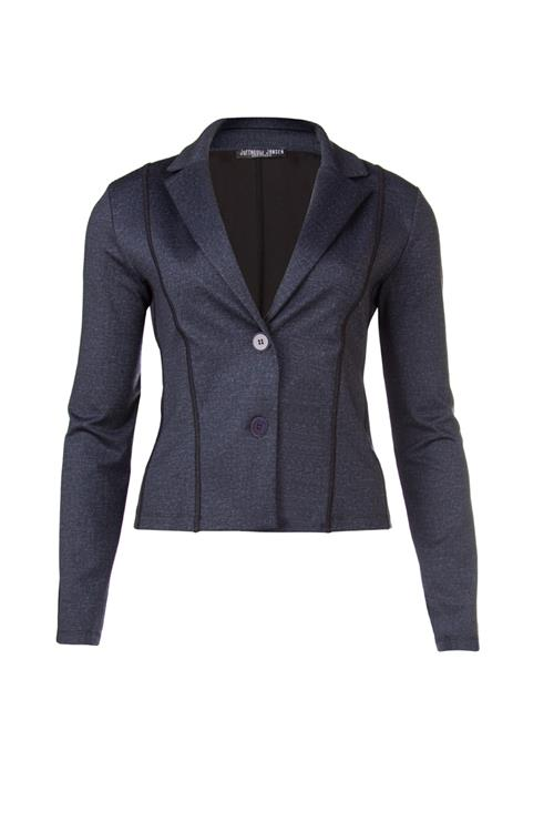 Korte blazer in denimmelange met strikdetail