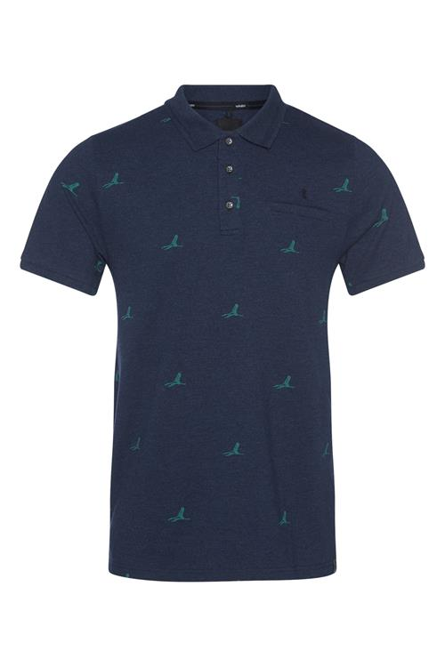 Twinlife Polo Shirt Vogel Print Navy