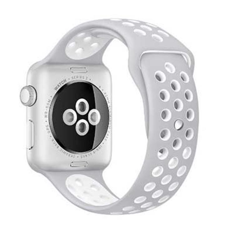 Apple watch 42mm sporthorlogeband grijs-wit