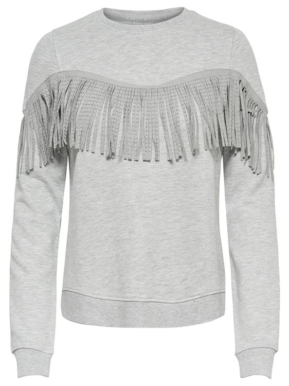 Onlzoe l/s o-neck fringe swt Light Grey Melange