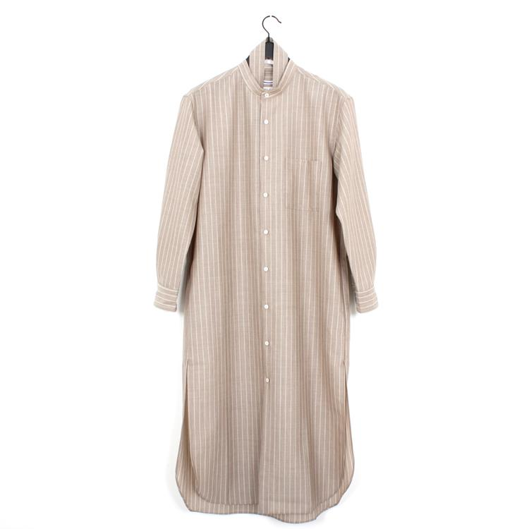 Cristaseya striped maxi mao shirt beige