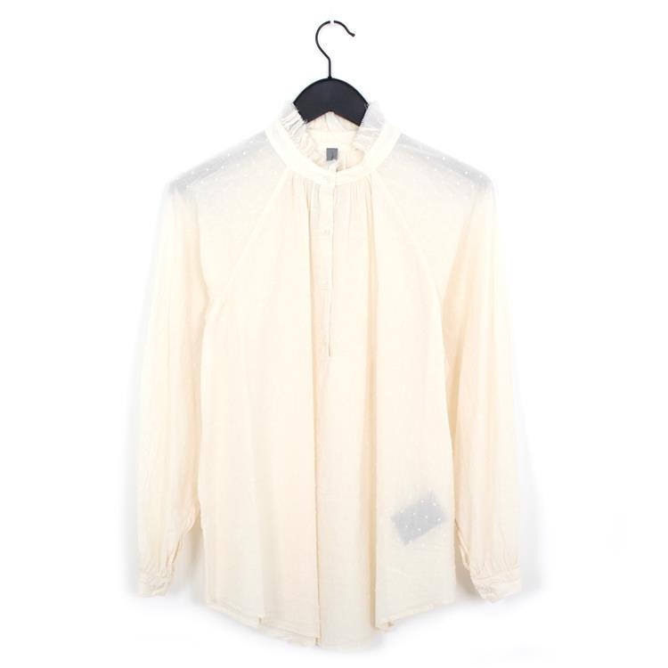 Raquel Allegra ruffle collar blouse bone