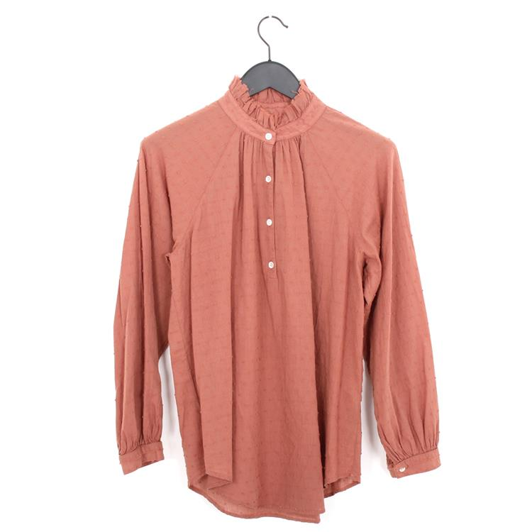 Raquel Allegra ruffle collar blouse terracotta