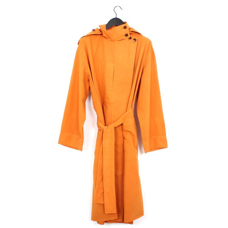 Lemaire hooded wide overcoat saffron