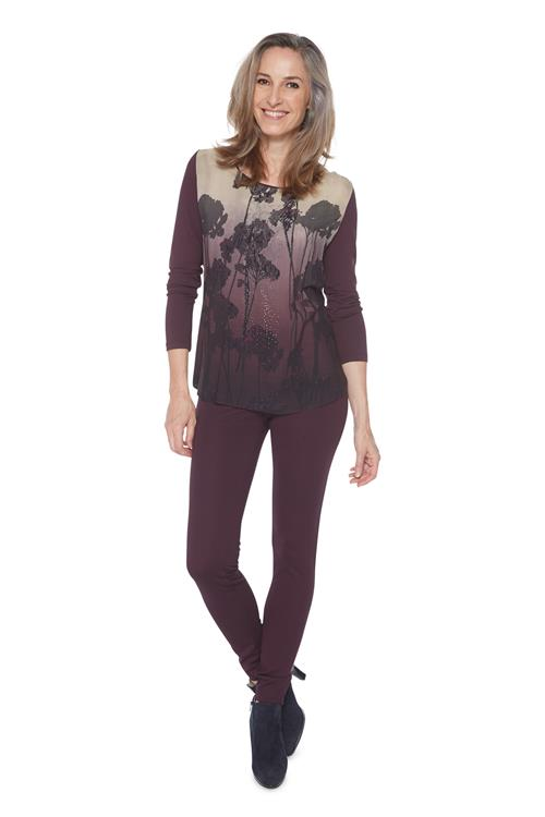 Lebek Top Bloemen Bordeaux
