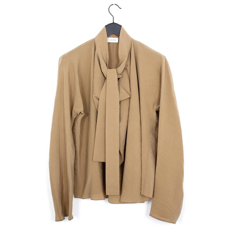 Lemaire long sleeve top with tie beige