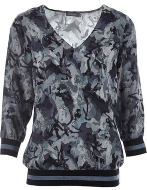 Geisha long sleeve print top Blue/combi