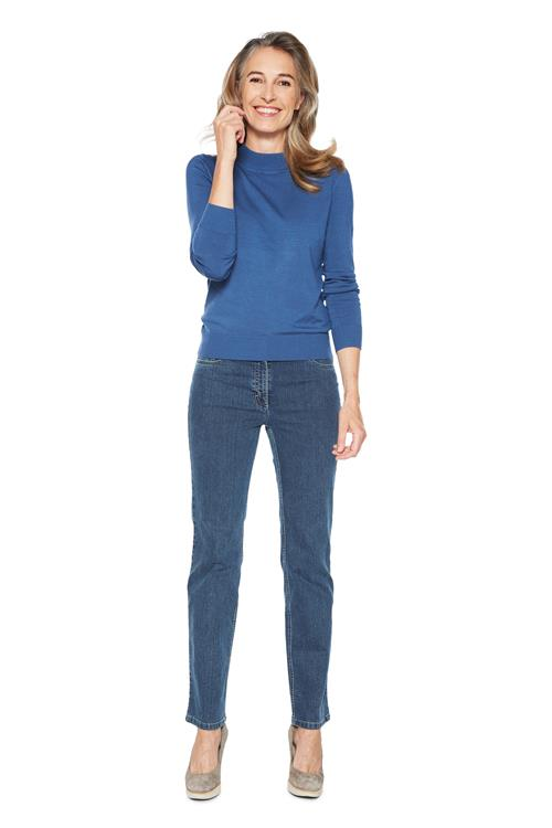 Pullover Basic Col Blauw