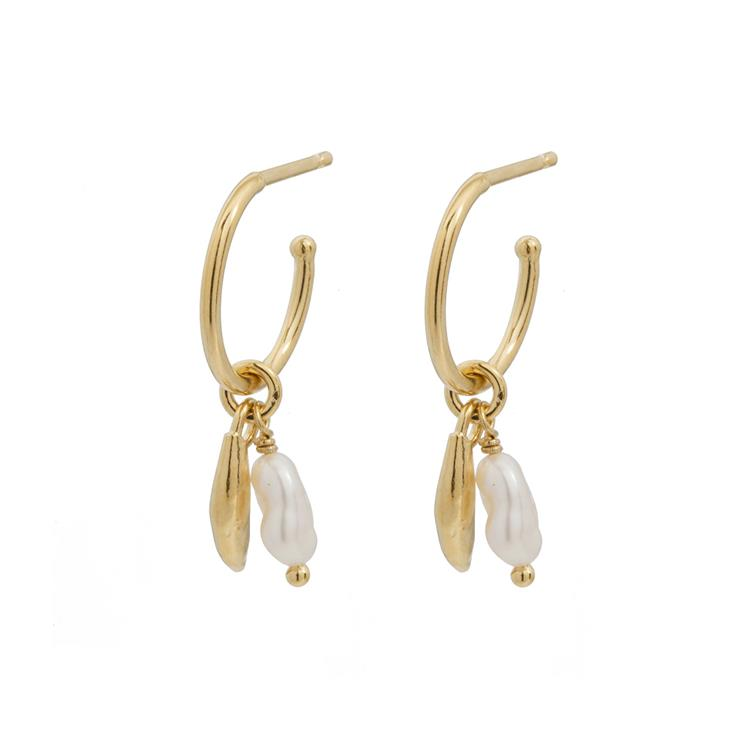 Wouters & Hendrix hoop earrings with freshwater pearls and leaves
