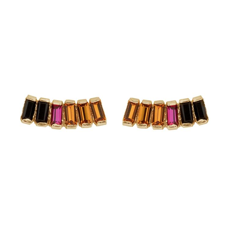 Wouters & Hendrix stud earrings with rainbow colored crystals