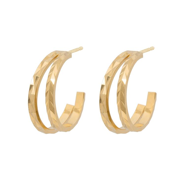 Wouters & Hendrix delicate textured double hoop earrings