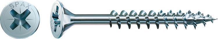 SPAX spaanplaatschroeven POZI platkop 4 x 40 mm PZ2 WIROX Deeldraad 1000 st