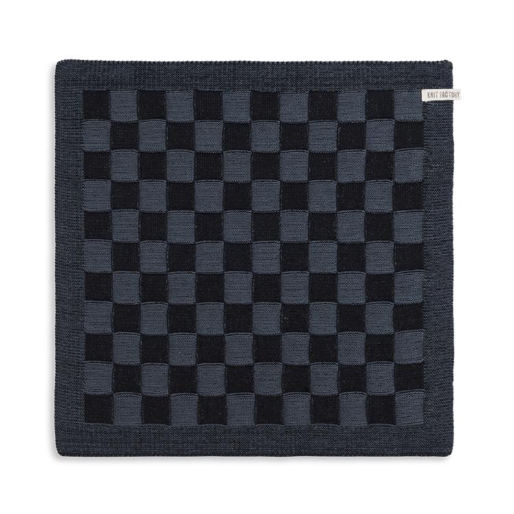 Knit Factory Keukendoek Block - zwart/graniet