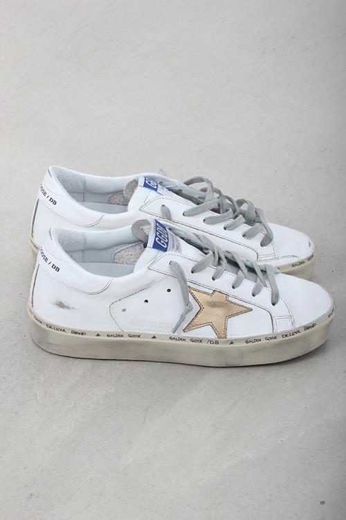Golden Goose sneaker hi star white gold leather star