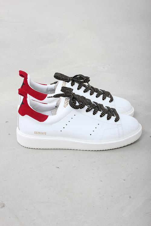 Golden Goose sneaker starter white leather red suede