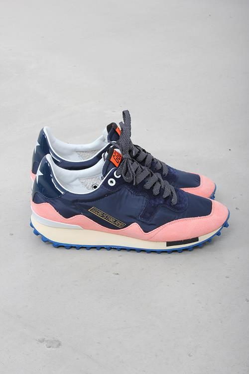 Golden Goose sneaker starland orange fluo suede navy