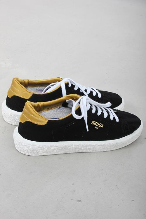Golden Goose sneaker tennis black suede ocher satin