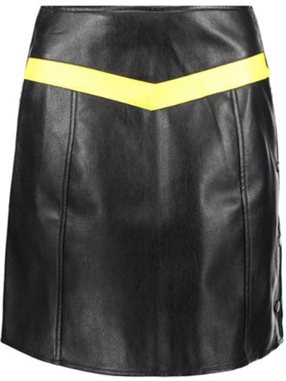 Vmcontrast connery hw faux leather skirt Black/Cream gold