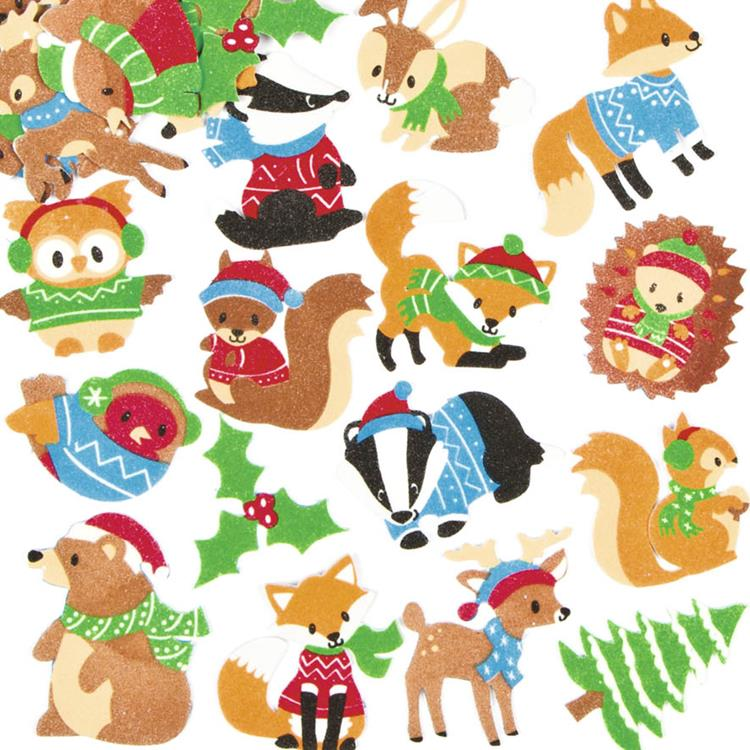 Winter stickers dieren