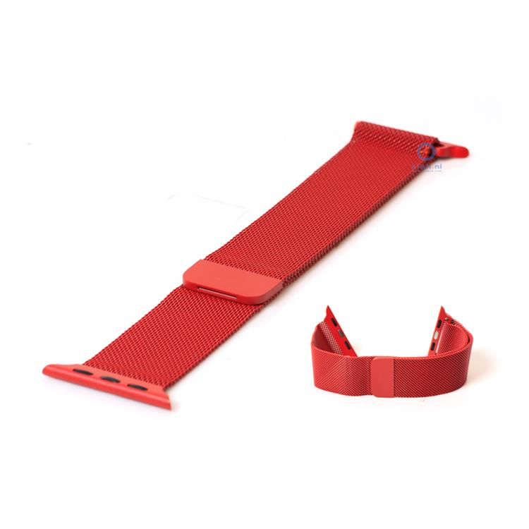 Apple Watch horlogeband milanees rood (38mm)
