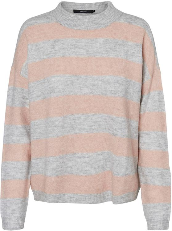 vmrana stripe ls o-neck blouse lgm/misty rose