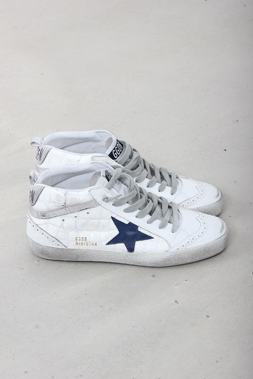 Golden Goose sneaker midstar white shiny cocco navy star