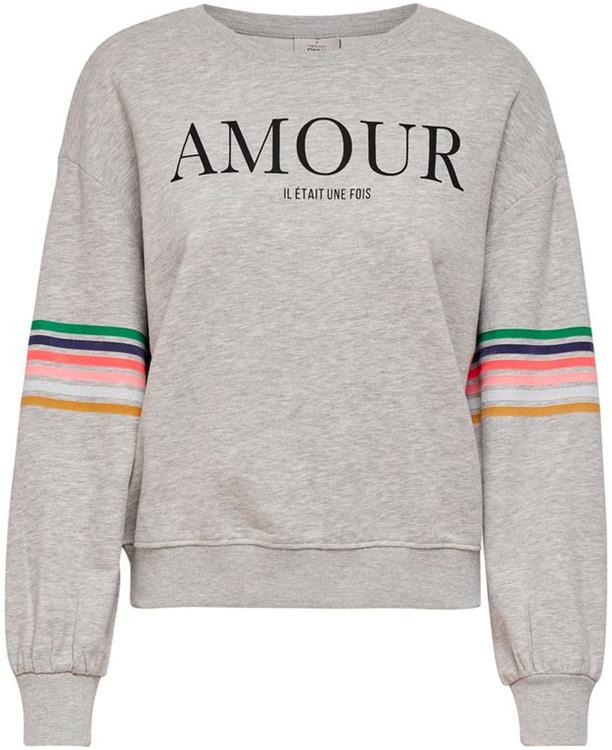 Onl daisy ls o-neck swt Light Grey mela/amour