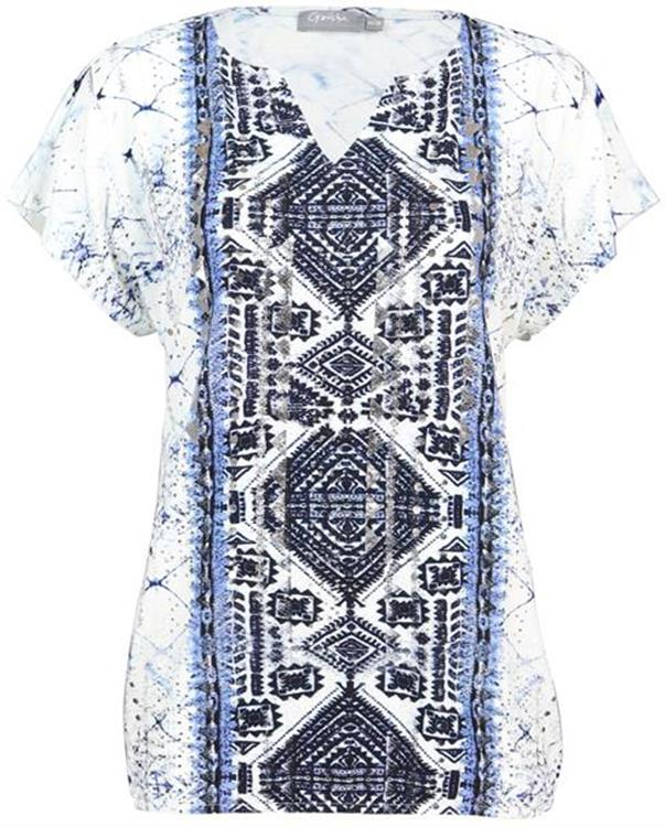 Geisha top White/Indigo/Blue
