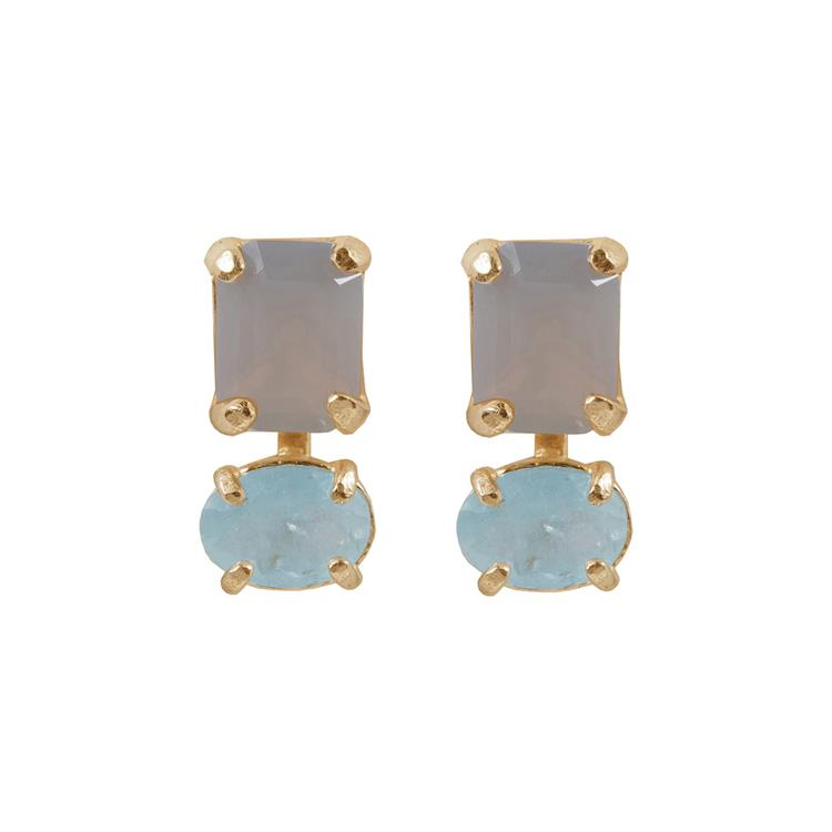 Wouters & Hendrix stud earrings grey agate aquamarine