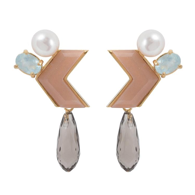 Wouters & Hendrix arrow earrings pearl and soft colors