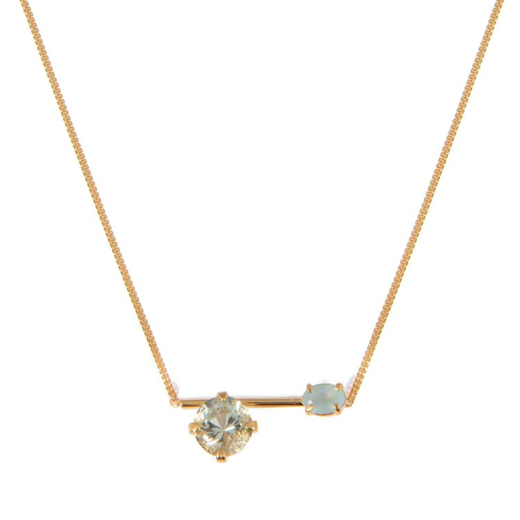 Wouters & Hendrix necklace green crystal aquamarine