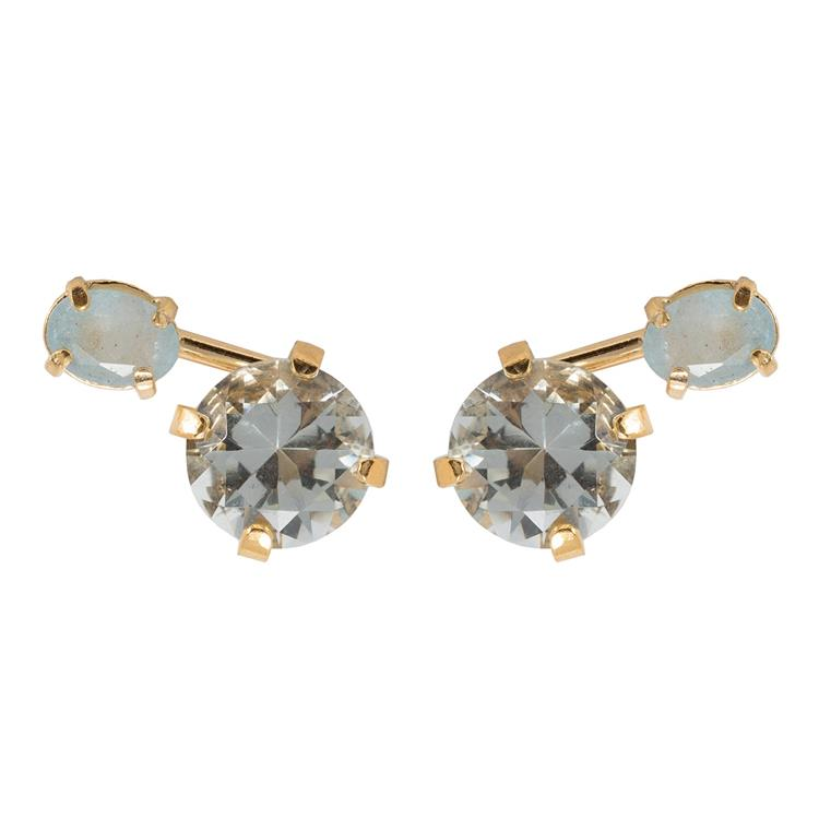 Wouters & Hendrix stud earrings green crystal aquamarine