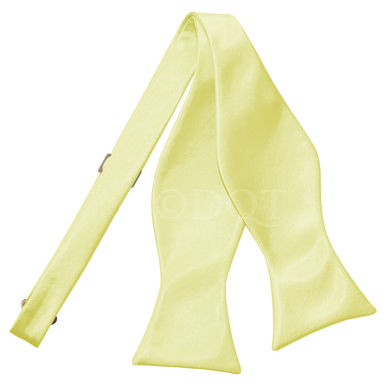 Uni satijnen smoking strik (zelfstrikkend) pale yellow