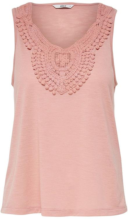 Onlisa s/l crochet tank top Misty rose