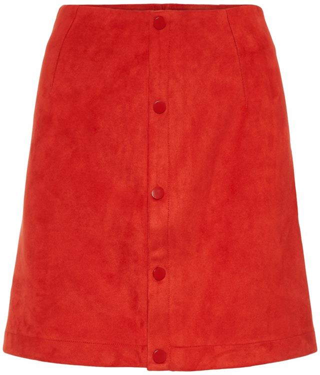 Vmbelle nw short faux suede skirt  Fiery red