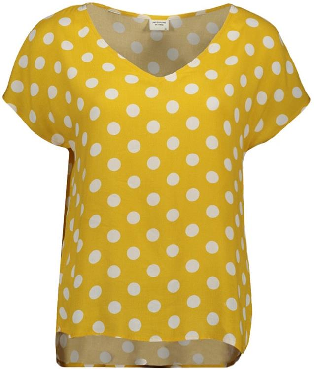 Jdystar s/s v-neck top wvn fs Spicy Mustard/cloud danc