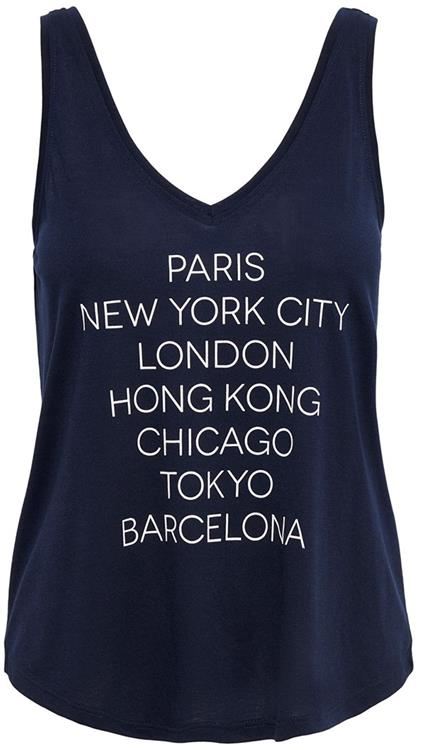 Jdycity icon strap print top Navy Blazer/cities